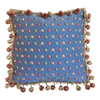 Autumn Leaf Embroidered Needlepoint Pillow