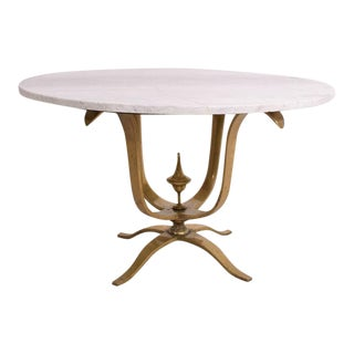 Solid Brass & Marble Round Dining Table