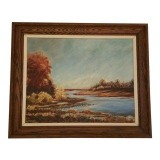 Mid-Century Lake Champlain Landscape Oil Painting