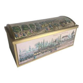Vintage E. Otto Schmidt Railroad Cookie Tin Trunk