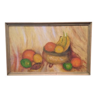 Vintage Original Still Life Citrus Fruit Framed Painting Signed