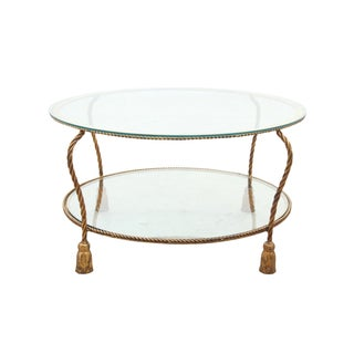 Hollywood Regency Gilt Rope Side Table