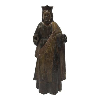 19th Century Carved Wood Religious Sculpture of Saint Agatha