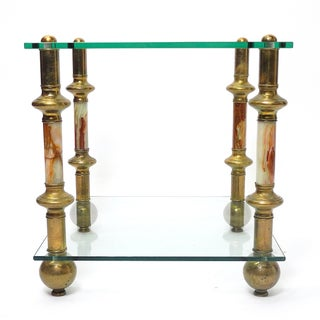 Hollywood Regency Agate & Glass Side Table