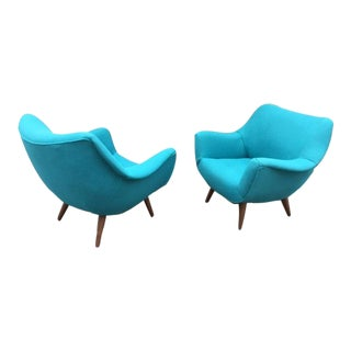 "Mid-Century ""Bobby"" Lounge Chairs - A Pair"