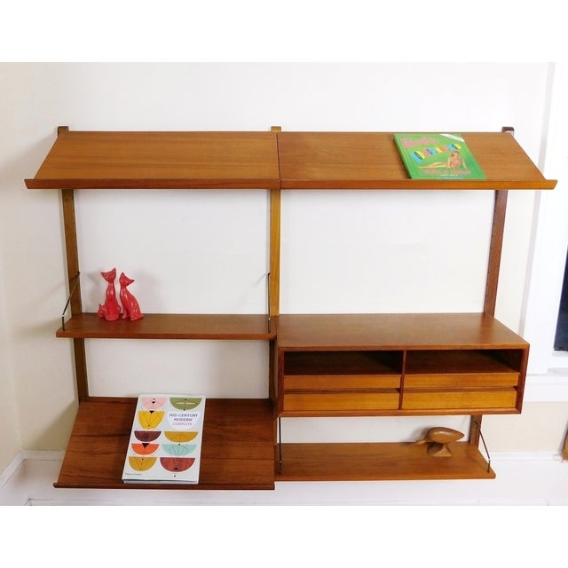 Danish Modern Teak Floating Adjustable Desk Wall Unit Bookcase by Carlo Jensen for Hundevad & Co - Image 3 of 9