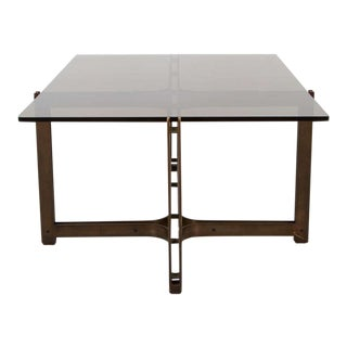 Roger Sprunger for Dunbar Smoked Glass Top Cocktail Table