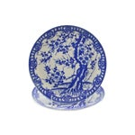 Image of Blue Fluted Cherry Blossom Plates - A Pair