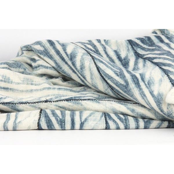 Blue African Mud Cloth Throw Blanket - Image 4 of 6