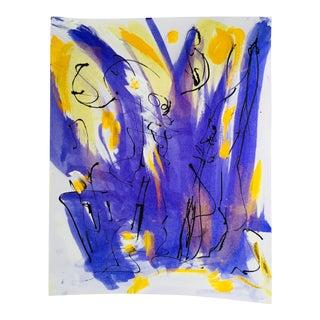 "Original Erik Sulander ""Carolina Cattails"" Abstract Ink Wash/Acrylic Paint on Paper"