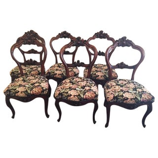 Antique Victorian American Walnut Balloon Back Dining Chairs - Set of 6