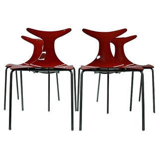 Sculptural Italian Red Dining Chairs - Set of 4