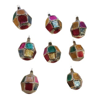 Vintage Multi Colored Christmas Ornaments - Set of 8