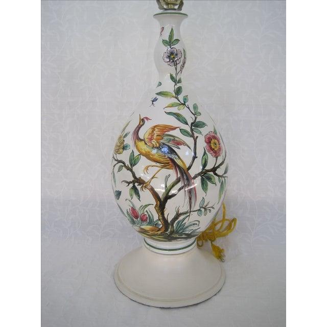 Mid-Century Hand Painted Lamp Stylized Bird - Image 2 of 8