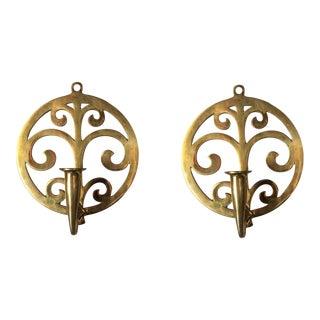Scrolling Art Nouveau Brass Sconces - A Pair