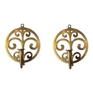Scrolling Art Nouveau Brass Sconces - A Pair