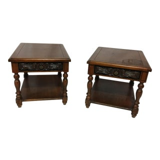 Lane Carved Wooden End Tables - A Pair