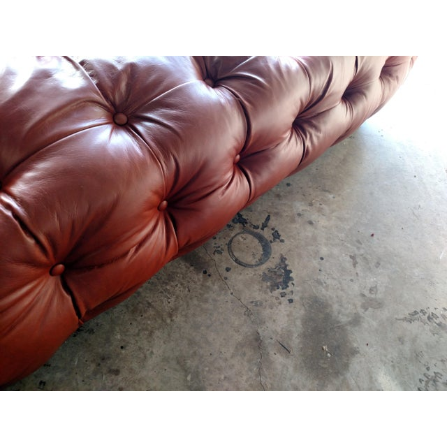 Saddle Brown Tufted Leather Ottoman - Image 4 of 6