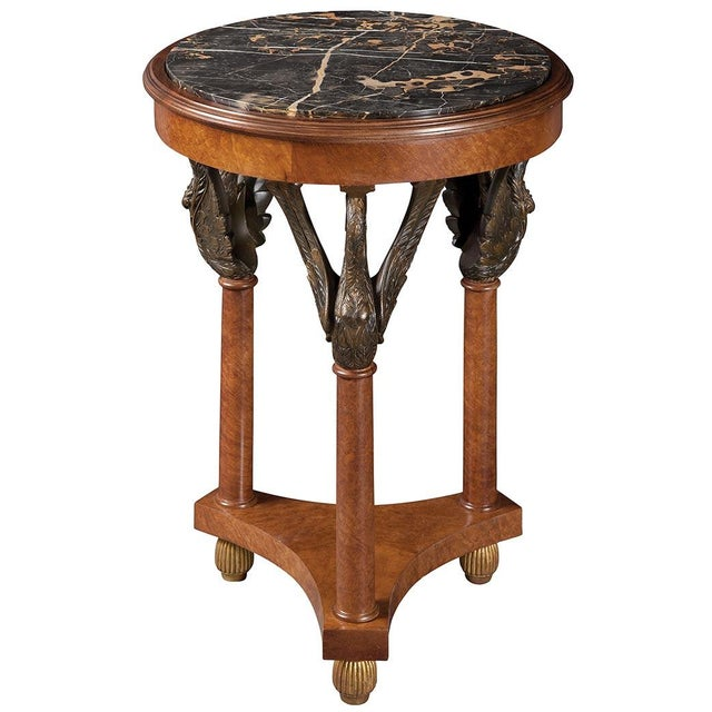 Image of Empire Style Carved Side Table With Marble
