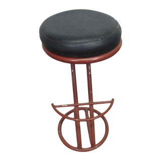 Red Metal Base Stool