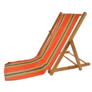 Orange Striped Vintage Canvas Beach Chair II