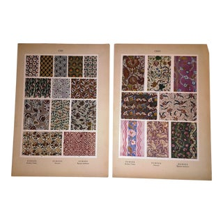 Early 20th Century Prints European Patterns in Fabric - A Pair