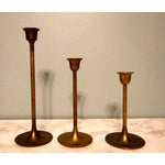 Image of Vintage Tulip Graduated Brass Candlestick Holders - Set of 3