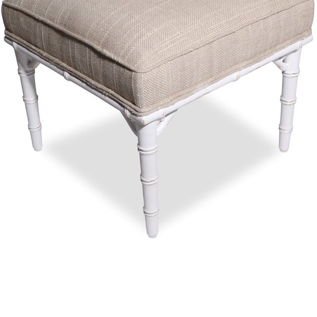 Image of Faux Bamboo Upholstered Ottoman