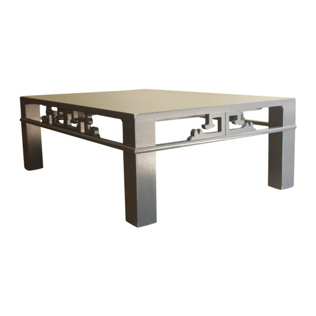 Chinoiserie Navy Blue Wood Carved Low Coffee Table - Image 1 of 8