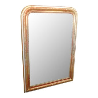 Antique Partial Gold-Leaf French Etched Wood Frame Console Mirror c1900