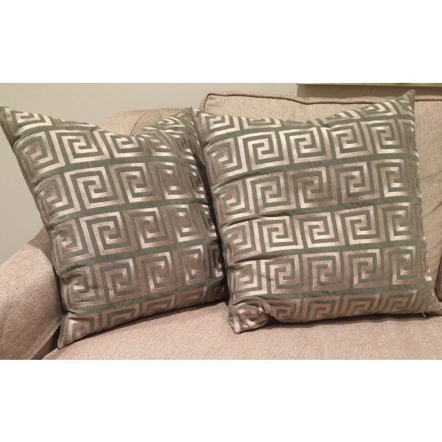 Greek Key Pillows - A Pair - Image 4 of 5