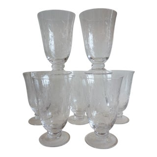 Pressed Glass Water Goblets - Set of 6