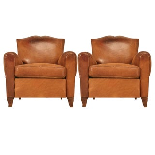 Fully Conserved Pair of Original 1930's French Moustache Back Club Chairs