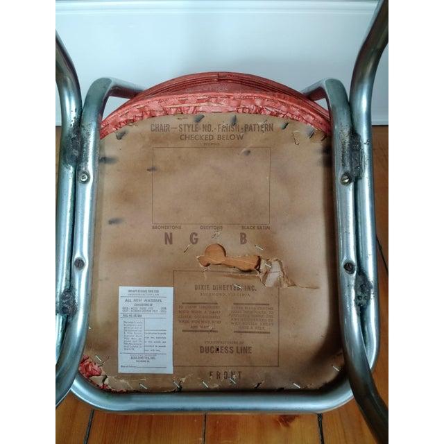 Retro 1950s Vinyl & Chrome Dining Chairs - Set of 4 - Image 9 of 10
