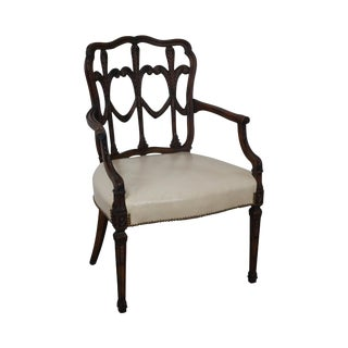 Vintage Fleur de Lis Carved Mahogany Leather Seat Arm Chair