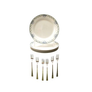 French Art Deco Transferware Plates & Silverplate Cocktail Forks, 12 Pcs.