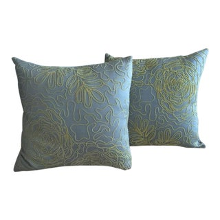 2 Celadon Cotton Embroidered Pillows-Feather Inserts