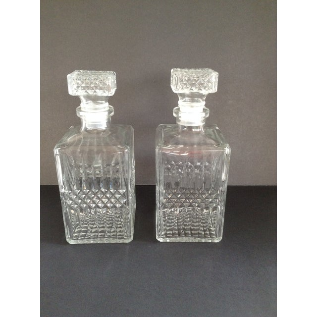 Image of Vintage Matching Glass Decanters - Pair