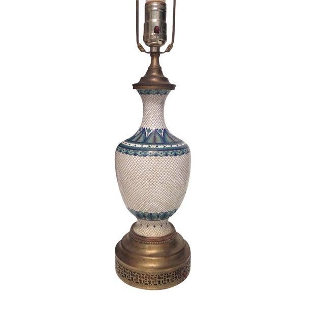 Vintage Fish Scale Cloisonné Lamp - Image 1 of 7