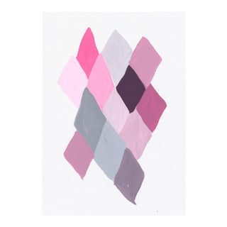 Geometric Abstract Pink & Gray Painting