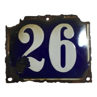 Blue Vintage Belgian Numbered Enamel Plate - No 26