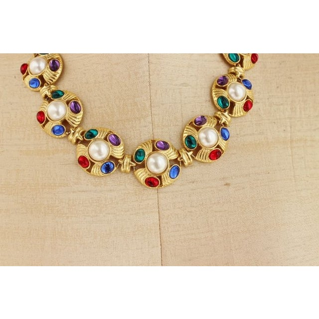Image of 90s Statement Necklace Pearls Gold Red Blue Green
