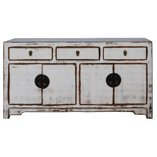 Chinese Distressed Rustic Off White Sideboard Cabinet
