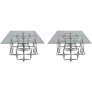 Tri-Mark Studio Brutalist Sidetables, Steel Masonry Nails, Pair