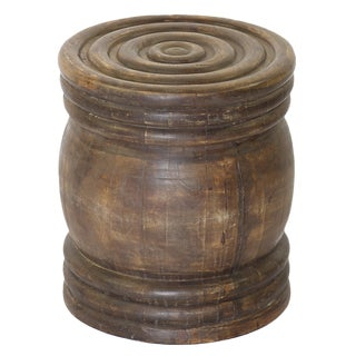 African turned round table