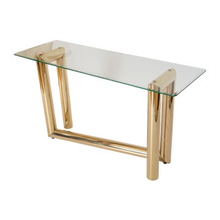 "1970s Brass ""Z"" Shape Console Table"