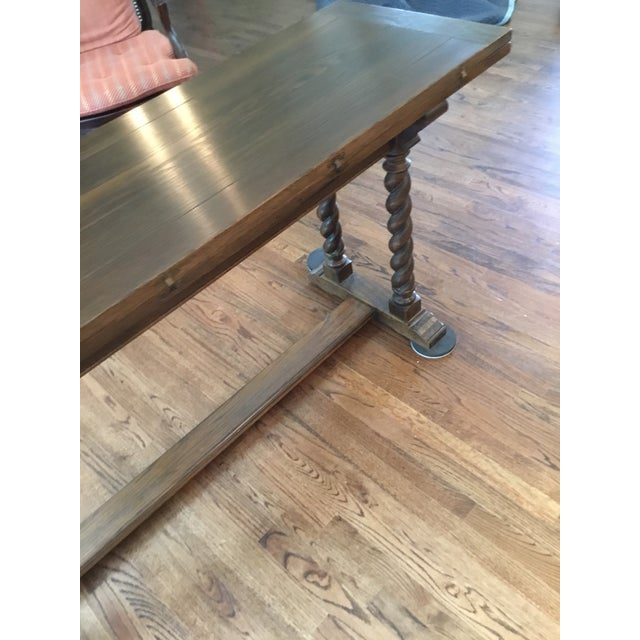 Ethan Allen Jacobean Barley Twist Expanding Banquet Dining Room Trestle Table - Image 7 of 9
