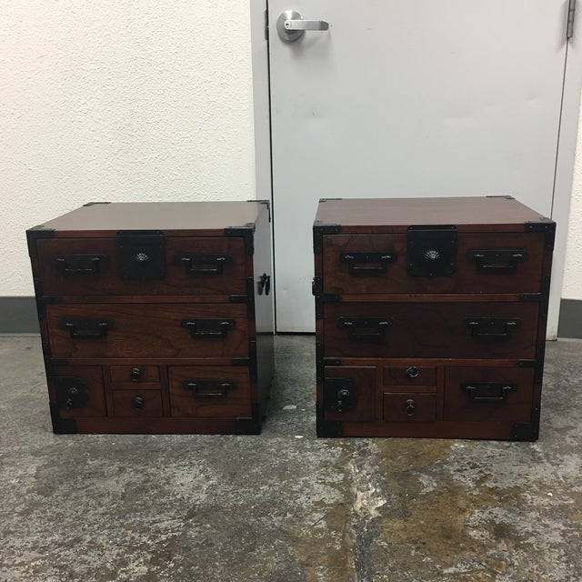 Image of Asian Side Tables With Drawers - A Pair