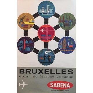 Vintage Travel Poster, Brussels Sabena