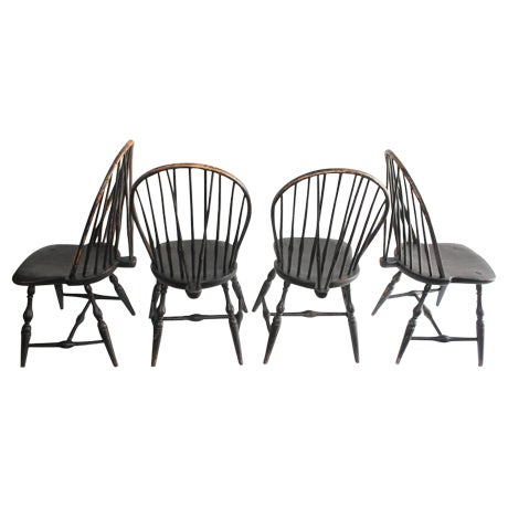 Set of Four 18th Century Black Painted Brace Back Windsor Chairs - Image 1 of 10